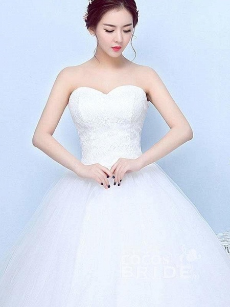 Simple Generous Lace Strapless off White Fashion Sexy Wedding Dresses_4