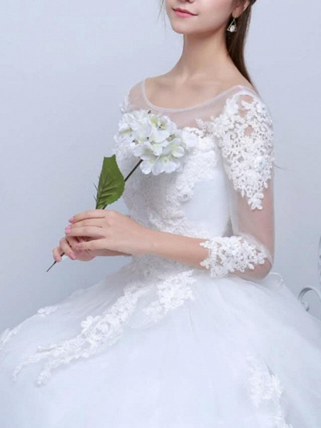 Ball Gown Wedding Dresses V Neck Sweep \ Brush Train Lace Satin Tulle Long Sleeve Formal_4