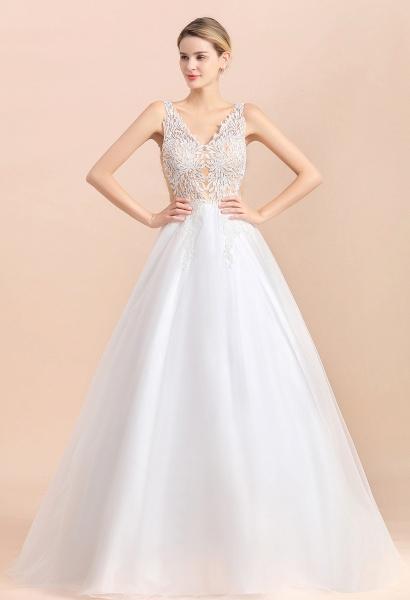 Elegant Sleeveless A-line Floral Appliques Wedding Dress_1