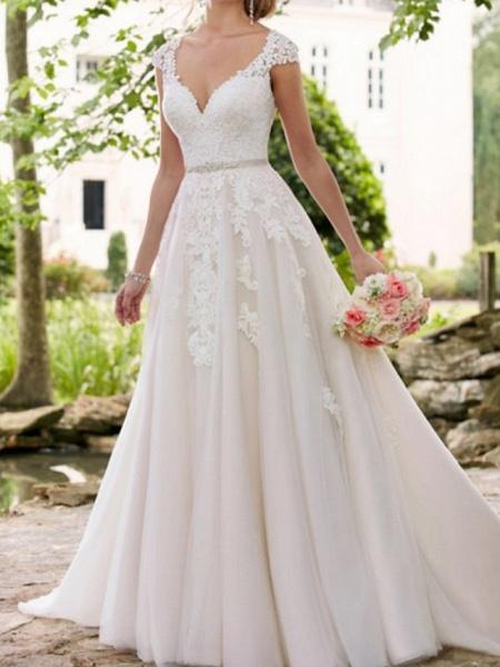 A-Line Wedding Dresses V Neck Sweep \ Brush Train Lace Tulle Regular Straps Formal Mordern Illusion Detail_1