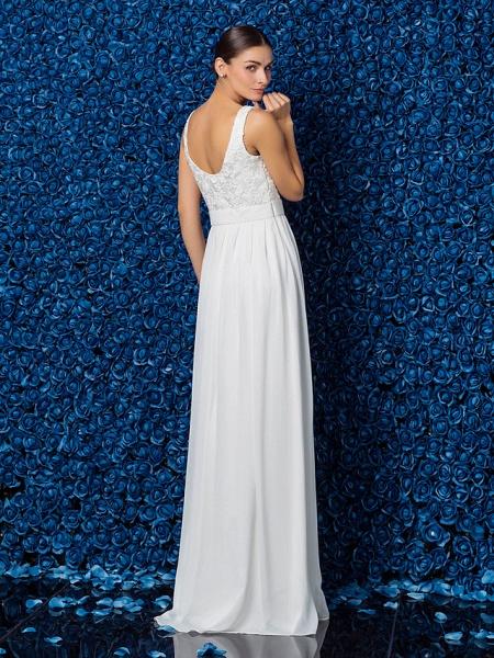 Sheath \ Column Elegant Prom Formal Evening Dress Illusion Neck Sleeveless Floor Length Chiffon Lace_2