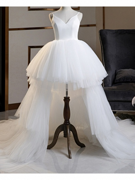 A-Line Wedding Dresses V Neck Asymmetrical Lace Tulle Spaghetti Strap Formal Plus Size Black Red_2