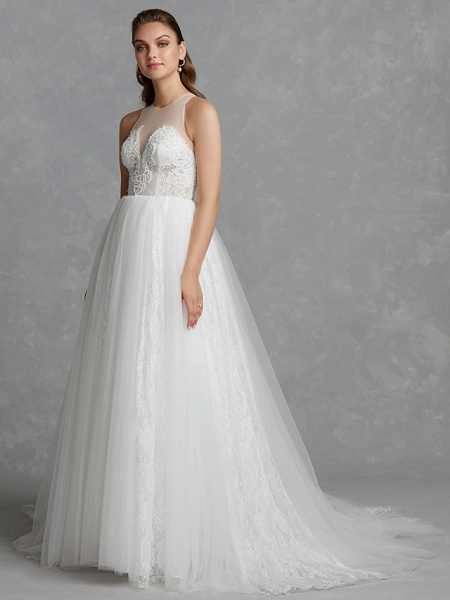 A-Line Wedding Dresses Jewel Neck Court Train Lace Tulle Regular Straps Glamorous See-Through Backless_3