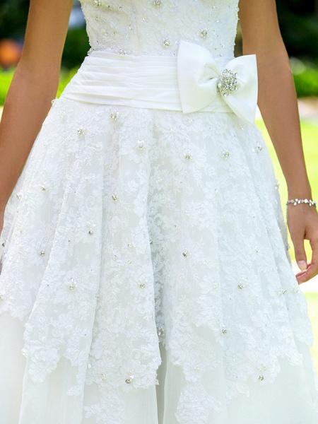 A-Line Wedding Dresses Bateau Neck Ankle Length Lace Regular Straps Little White Dress_8