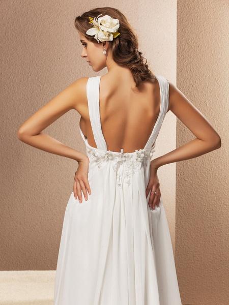 Sheath \ Column Wedding Dresses V Neck Court Train Chiffon Sleeveless See-Through_3