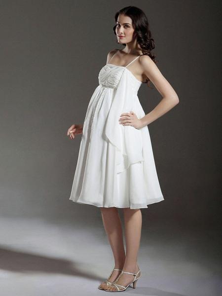 Princess A-Line Wedding Dresses Spaghetti Strap Knee Length Chiffon Sleeveless Little White Dress_2
