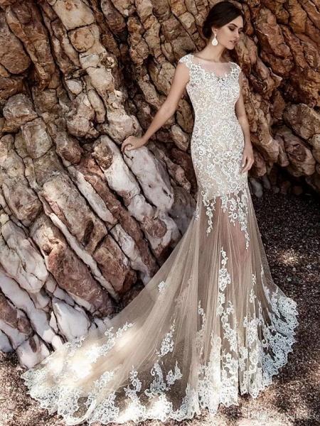 Mermaid \ Trumpet Jewel Neck Court Train Lace Tulle Cap Sleeve Modern Detachable Wedding Dresses_4
