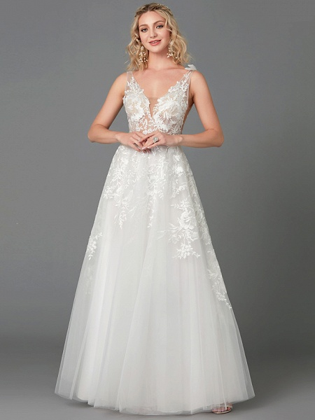 A-Line Wedding Dresses Plunging Neck Floor Length Lace Tulle Sleeveless See-Through_4