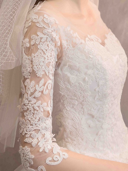 Ball Gown Wedding Dresses Jewel Neck Floor Length Lace Tulle Half Sleeve Glamorous See-Through Backless Illusion Sleeve_10