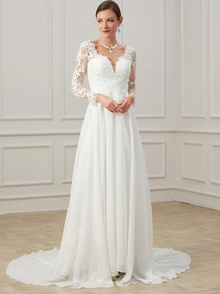 Sheath \ Column Wedding Dresses V Neck Sweep \ Brush Train Lace Tulle Long Sleeve Formal Plus Size Illusion Sleeve_3
