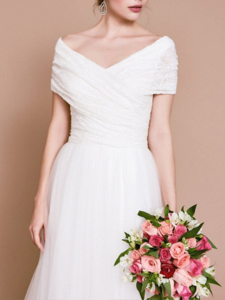 A-Line Wedding Dresses Off Shoulder Sweep \ Brush Train Tulle Short Sleeve Vintage Sexy Wedding Dress in Color Backless_3