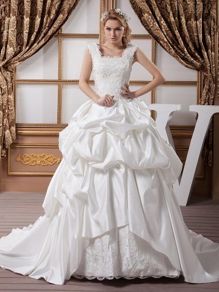 A-Line Square Neck Court Train Lace Satin Regular Straps Wedding Dresses_1