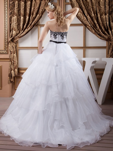 Ball Gown Strapless Court Train Lace Organza Satin Strapless Wedding Dress in Color Wedding Dresses_4