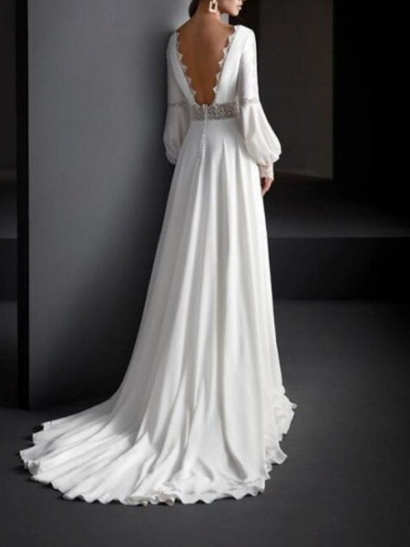 A-Line Wedding Dresses Jewel Neck Sweep \ Brush Train Lace Satin Long Sleeve Country Plus Size_2