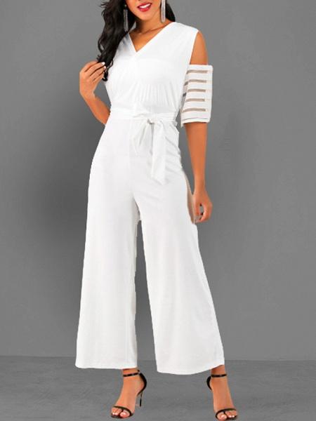 Women's V Neck Blue White Black Slim Jumpsuit_3
