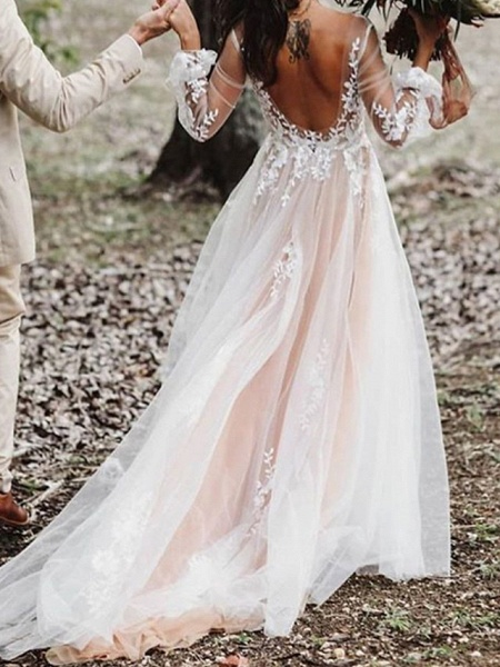 A-Line V Neck Court Train Lace Tulle Polyester Long Sleeve Formal Boho Plus Size Illusion Sleeve Wedding Dresses_2