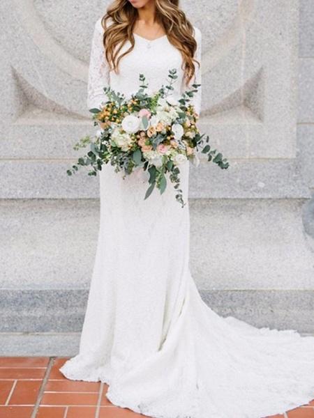 Sheath \ Column Wedding Dresses V Neck Sweep \ Brush Train Chiffon Lace 3\4 Length Sleeve Romantic Simple Elegant_1