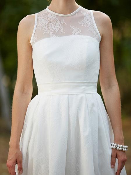 A-Line Wedding Dresses Jewel Neck Knee Length Lace Sleeveless Little White Dress_10