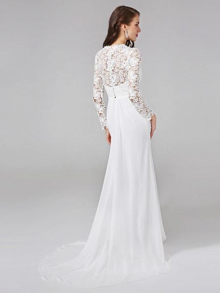 Sheath \ Column Wedding Dresses V Neck Sweep \ Brush Train Chiffon Floral Lace Long Sleeve Romantic Boho Illusion Sleeve_2