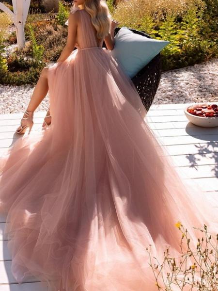 A-Line Wedding Dresses V Neck Court Train Chiffon Sleeveless Beach Sexy Wedding Dress in Color See-Through_3