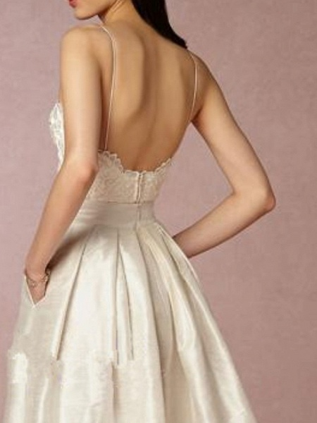 A-Line Wedding Dresses V Neck Asymmetrical Satin Sleeveless Formal Little White Dress_3
