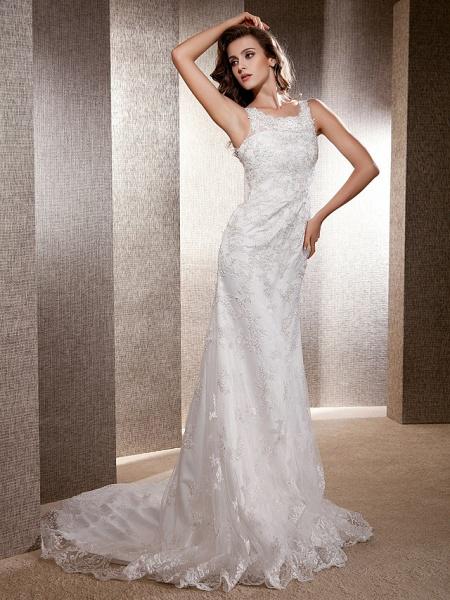 Mermaid \ Trumpet Wedding Dresses Scoop Neck Sweep \ Brush Train Lace Tulle Sleeveless_9