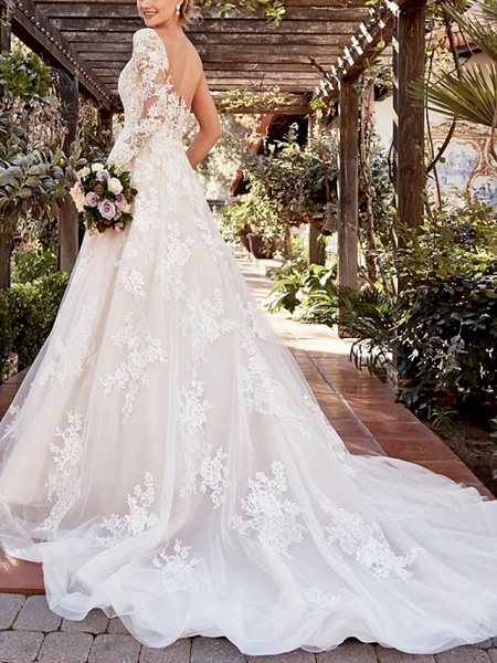 A-Line Wedding Dresses One Shoulder Court Train Lace Tulle Long Sleeve Illusion Sleeve_3