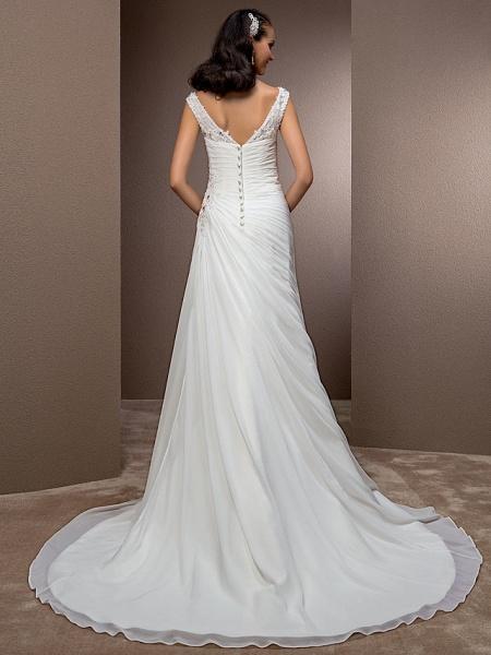 Sheath \ Column Wedding Dresses Bateau Neck Court Train Chiffon Cap Sleeve_4