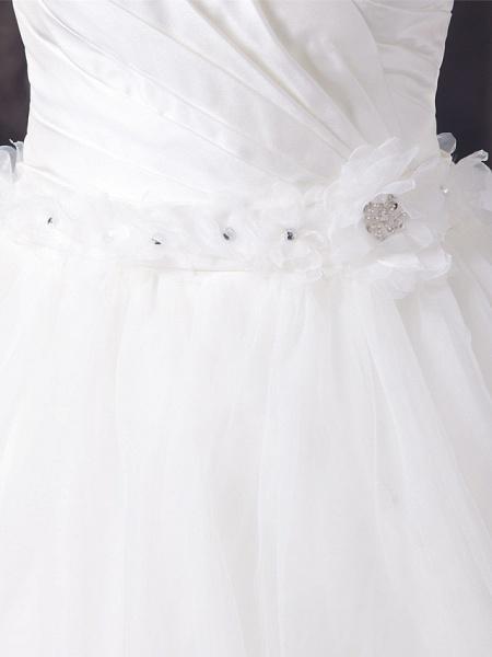 A-Line Sweetheart Neckline Court Train Organza Satin Strapless Wedding Dresses_5
