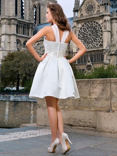 Ball Gown A-Line Wedding Dresses V Neck Knee Length Organza Satin Sleeveless Little White Dress_4
