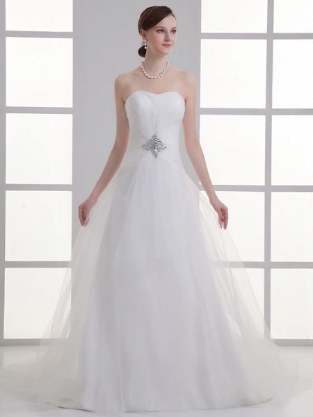 A-Line Wedding Dresses Sweetheart Neckline Chapel Train Lace Satin Strapless_1