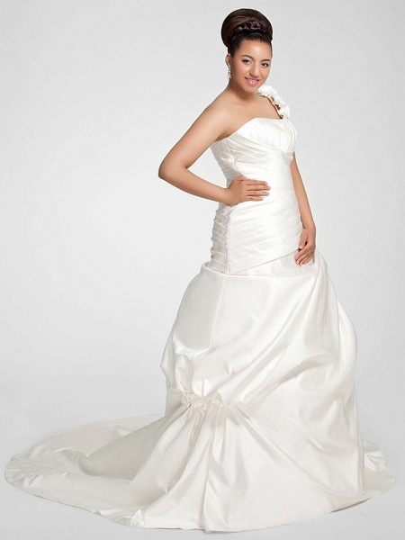 A-Line Wedding Dresses One Shoulder Sweep \ Brush Train Satin Strapless Formal Simple Little White Dress Plus Size_7