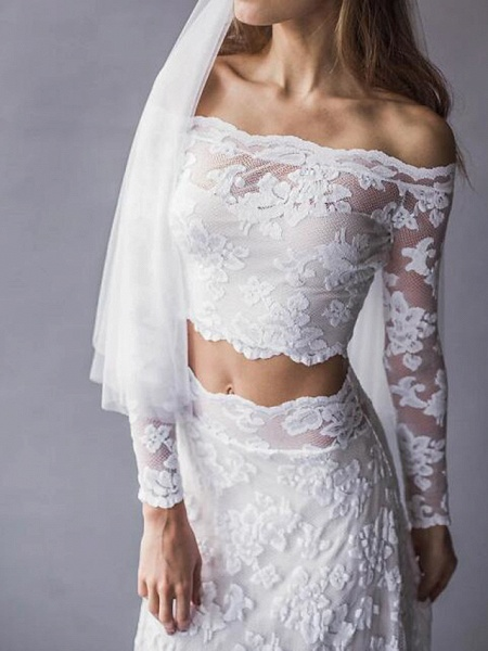 Two Piece Wedding Dresses Off Shoulder Sweep \ Brush Train Lace Long Sleeve Beach Boho Sexy See-Through_3