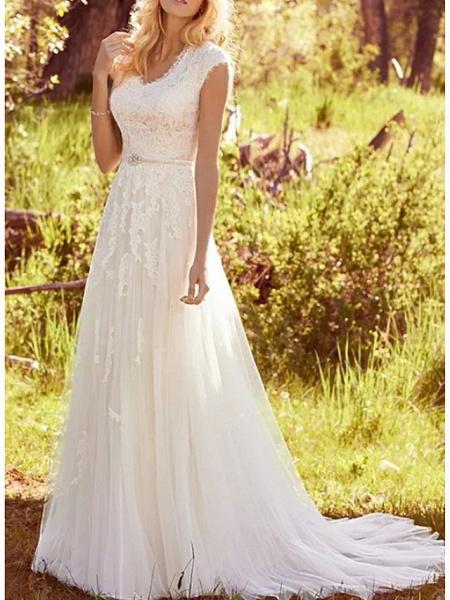 A-Line Wedding Dresses V Neck Sweep \ Brush Train Lace Tulle Regular Straps Vintage Illusion Detail