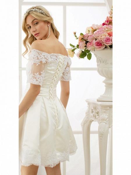 A-Line Wedding Dresses Off Shoulder Short \ Mini Satin Half Sleeve Formal Casual Illusion Detail_7