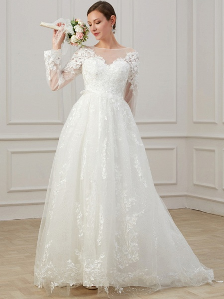 A-Line Jewel Neck Sweep \ Brush Train Lace Tulle Long Sleeve Beach Plus Size Illusion Sleeve Wedding Dresses_2