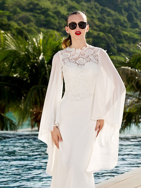 Sheath \ Column Wedding Dresses Jewel Neck Sweep \ Brush Train Lace Georgette Long Sleeve Beach Illusion Detail Backless_4