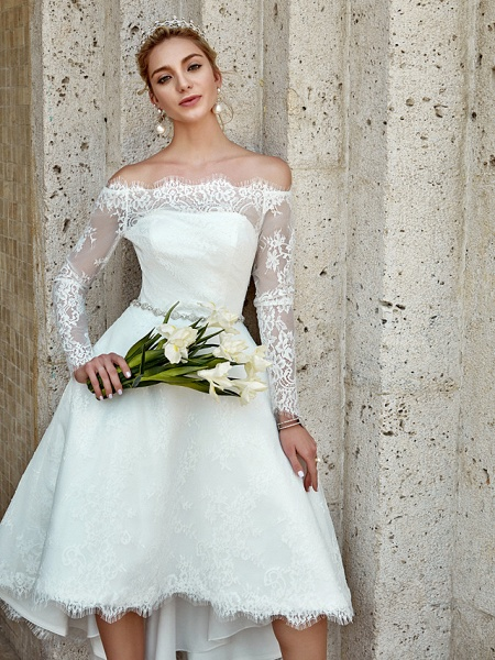 A-Line Wedding Dresses Off Shoulder Asymmetrical Lace Long Sleeve Casual Plus Size Illusion Sleeve_10