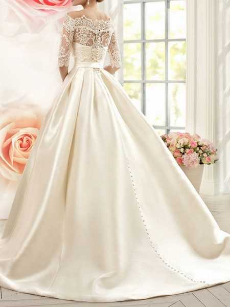 A-Line Wedding Dresses V Neck Court Train Tulle Half Sleeve Glamorous See-Through Illusion Sleeve_2
