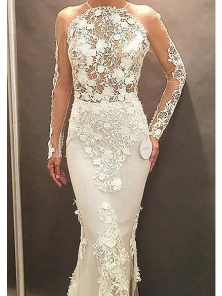 Affordable Mermaid Plus Size Long Sleeve Wedding Dresses_3