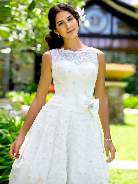 A-Line Wedding Dresses Bateau Neck Ankle Length Lace Regular Straps Little White Dress_4