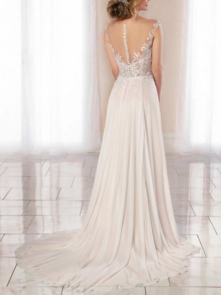 A-Line Wedding Dresses Scoop Neck Court Train Chiffon Lace Regular Straps Romantic Illusion Detail Backless_2