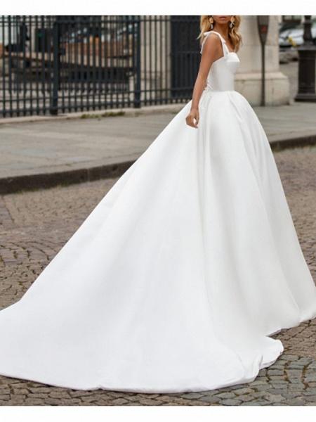 A-Line Wedding Dresses Sweetheart Neckline Sweep \ Brush Train Satin Spaghetti Strap Plus Size_4