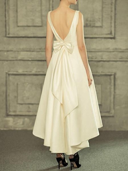 A-Line Wedding Dresses V Neck Asymmetrical Satin Regular Straps Simple Casual Vintage Little White Dress_3
