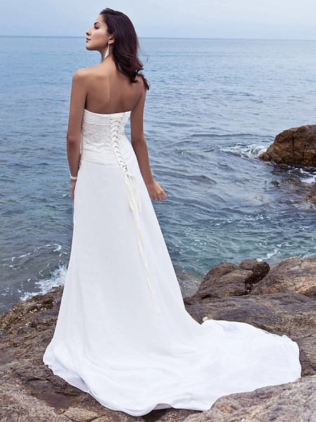 Sheath \ Column Wedding Dresses Strapless Court Train Chiffon Strapless Beach Plus Size_2