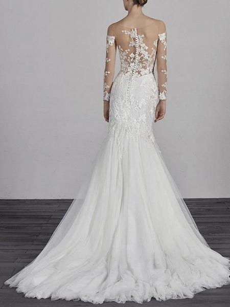 Mermaid \ Trumpet Wedding Dresses Jewel Neck Court Train Lace Tulle Long Sleeve Boho Illusion Sleeve_2