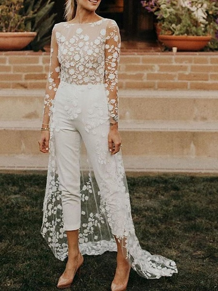 Jumpsuits A-Line Wedding Dresses Jewel Neck Sweep \ Brush Train Lace Satin Long Sleeve Sexy See-Through Modern_1
