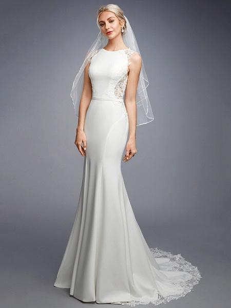 Mermaid \ Trumpet Wedding Dresses Bateau Neck Court Train Chiffon Lace Regular Straps Sexy Illusion Detail Backless_3
