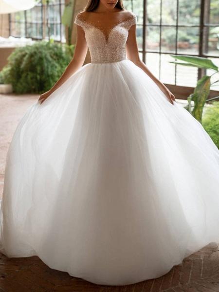 A-Line Wedding Dresses Off Shoulder Court Train Tulle Short Sleeve Plus Size_1