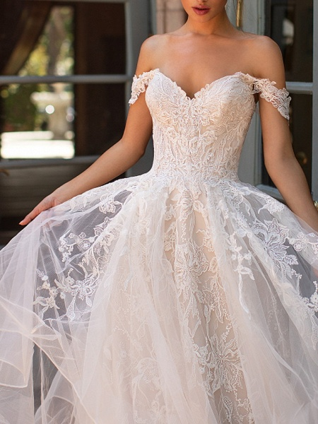 A-Line Strapless Court Train Polyester Short Sleeve Formal Illusion Detail Wedding Dresses_2